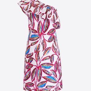 One shoulder dress in floral print